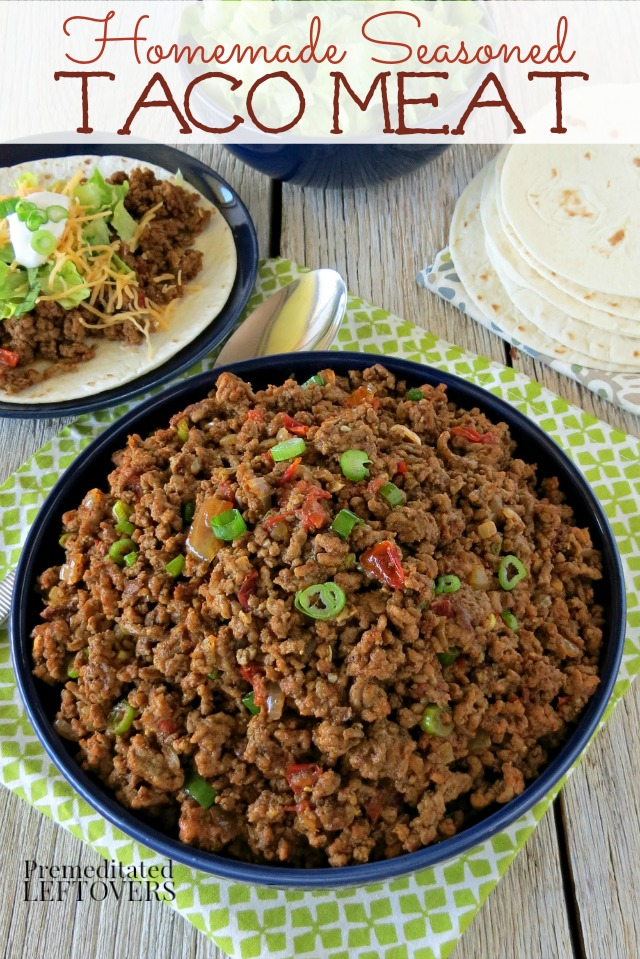 Homemade seasoned taco meat recipe to use in your mexican recipes homemade seasoned taco meat recipe making this seasoned taco meat recipe ensures you know exactly forumfinder Choice Image