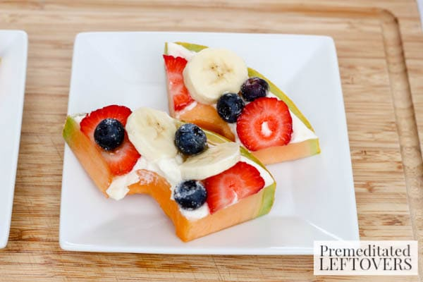 Cantaloupe Fruit Pizza- slices of fruit pizza