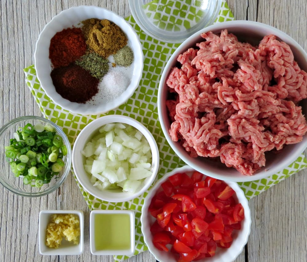Ingredients for the homemade Seasoned Taco Meat recipe