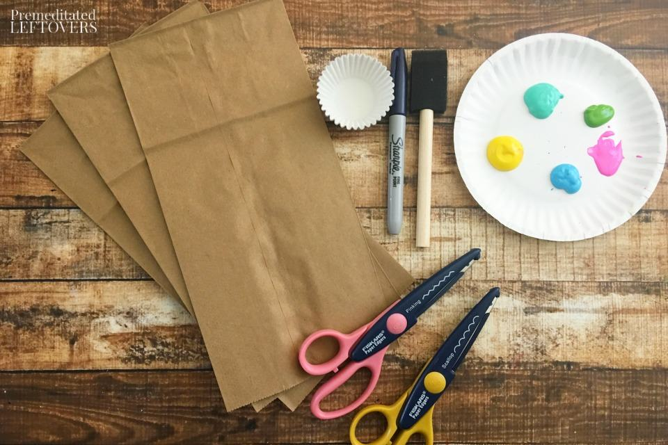 Paper Bag Jellyfish Craft - supplies