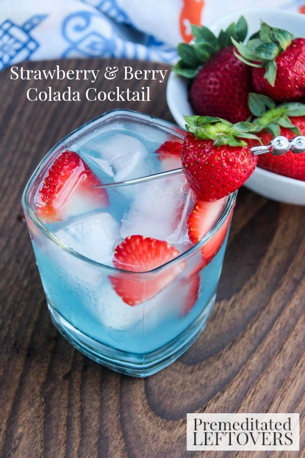 This Strawberry & Berry Colada Cocktail Recipe is a delicious summer beverage using Smirnoff Red, White & Berry Vodka and Seagram's Calypso Colada.