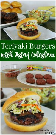 These Teriyaki Burgers with Asian Coleslaw are juicy and flavorful! Includes Teriyaki Burger recipe and Asian Coleslaw recipe. Combine the two on a bun!
