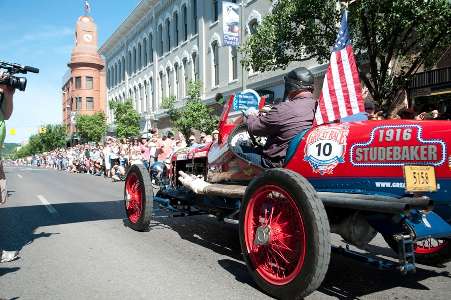 Classic cars at the Great Race on Father's Day