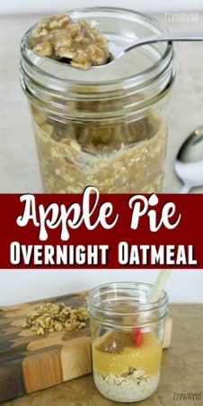 Easy apple pie overnight oatmeal recipe - no cooking needed!