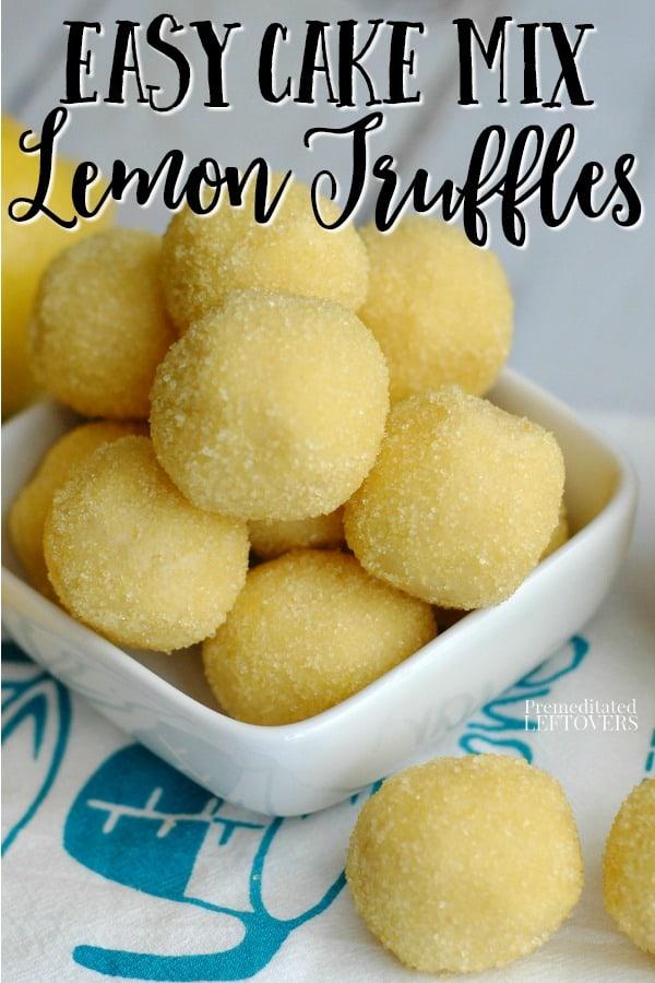 Delicious cake mix lemon truffles in a white bowl.