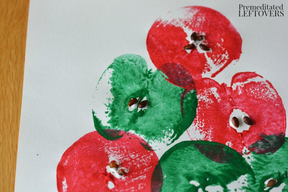 Apple Stamping Craft - glue seeds to painted apples