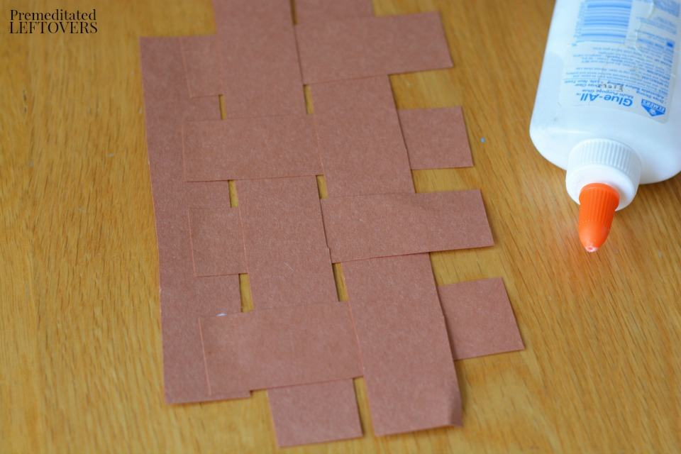 Apple Stamping Craft- overlap and glue paper strips together