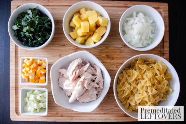 Best Homemade Chicken Soup with Bowtie Pasta- ingredients