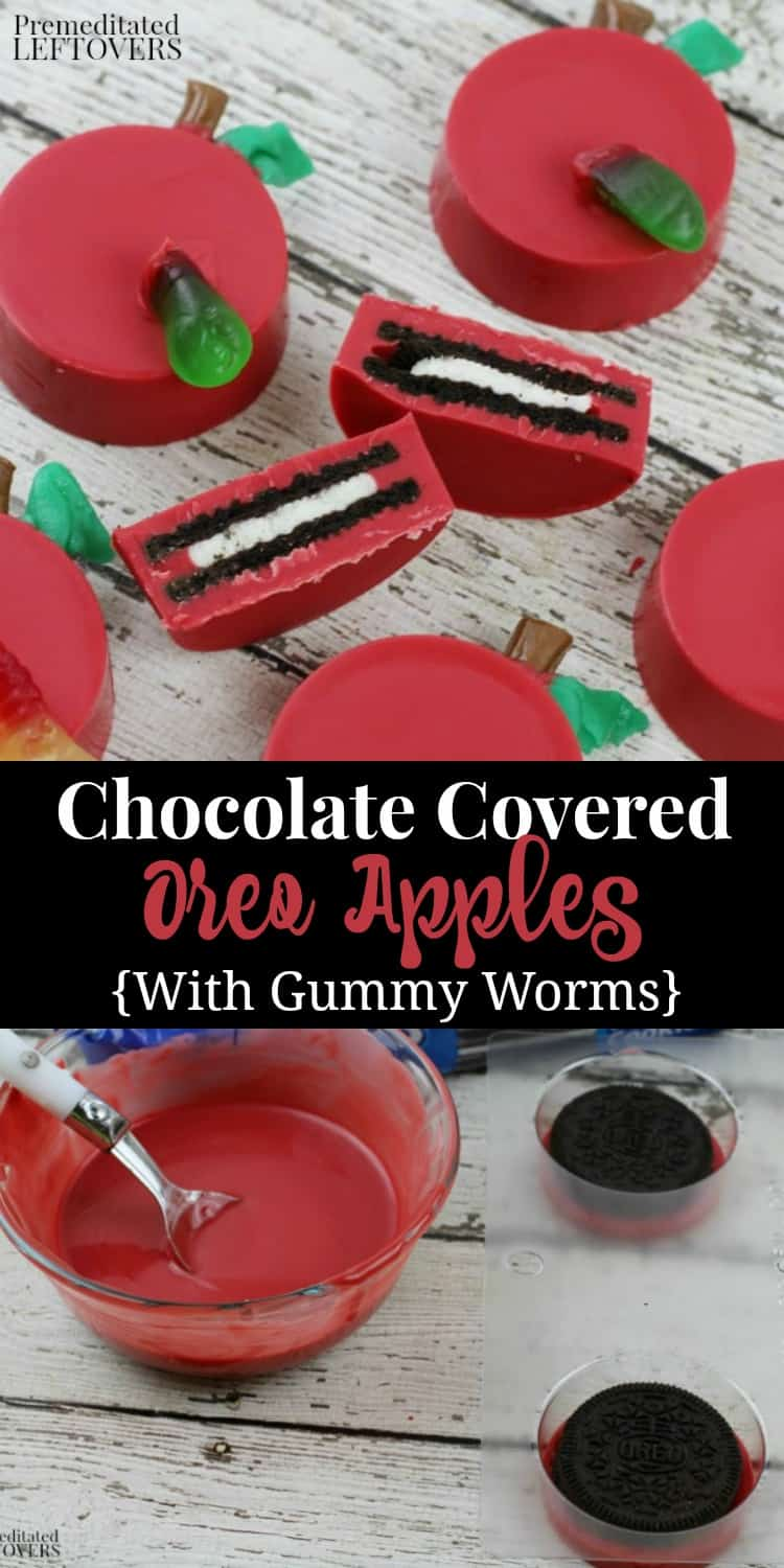 Chocolate Covered Oreo Apples with Gummy Worms - Recipe with picture tutorial