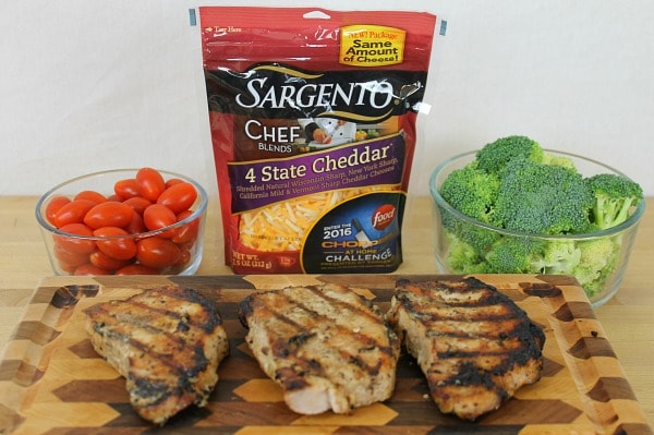 Chopped at Home Challenge Theme: Grilling Required Sargento Product: Chef Blends 4 State Cheddar Required Ingredients: Pork tenderloin, cherry or grape tomatoes, broccoli