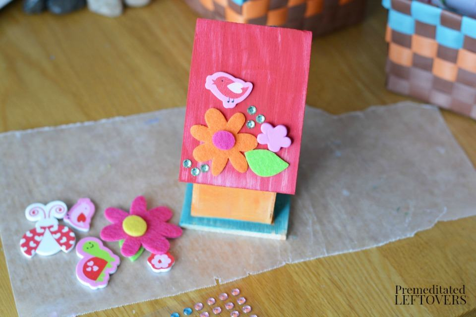 DIY Bird House Fairy Garden for Kids- cover with decorative stickers