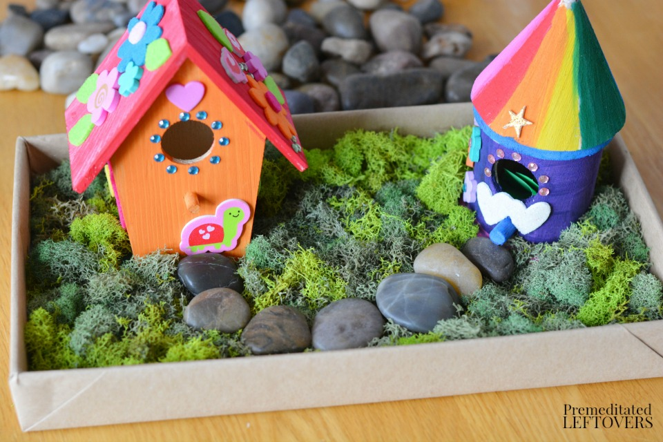 Diy bird house fairy garden craft for kids for Craft ideas for fairy gardens