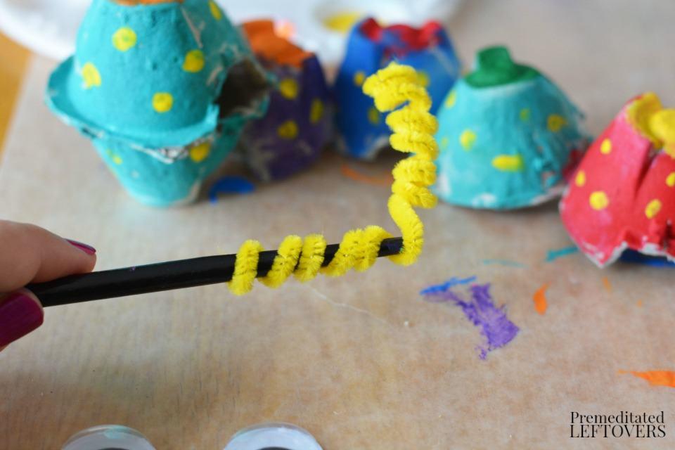 Egg Carton Caterpillar - how to make antennae