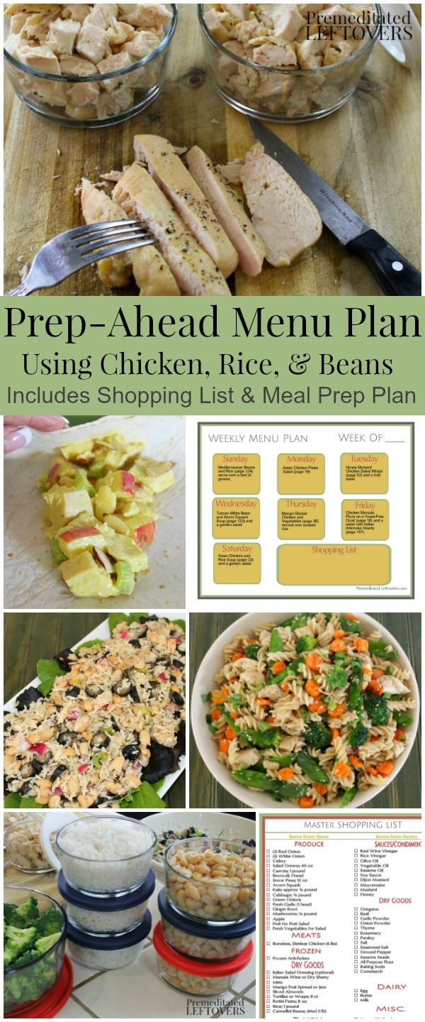 Menu Plan using recipes from Prep-Ahead Meals from Scratch. It includes a shopping list and a batch cooking meal prep plan.
