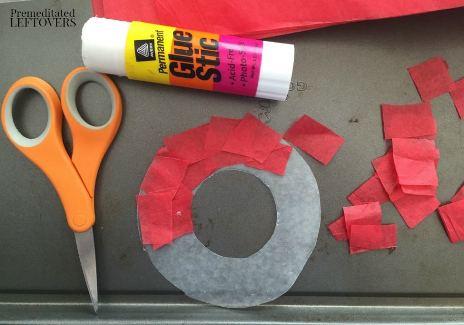 Olympic Rings Sun Catcher - glue tissue to circle