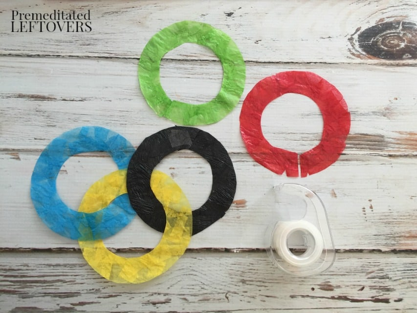 Olympic Rings Sun Catcher - reconnect rings using tape