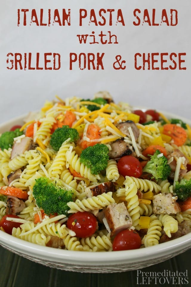 I created this quick and easy Italian Pasta Salad recipe as part of the Chopped at Home Challenge. It includes grilled pork, Sargento Chef Blends 4 State Cheddar, pasta, and a variety of vegetables.