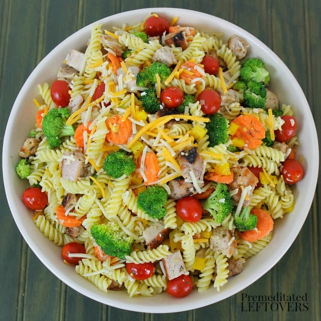 Quick and Easy Italian Pasta Salad with Grilled Pork and Cheese