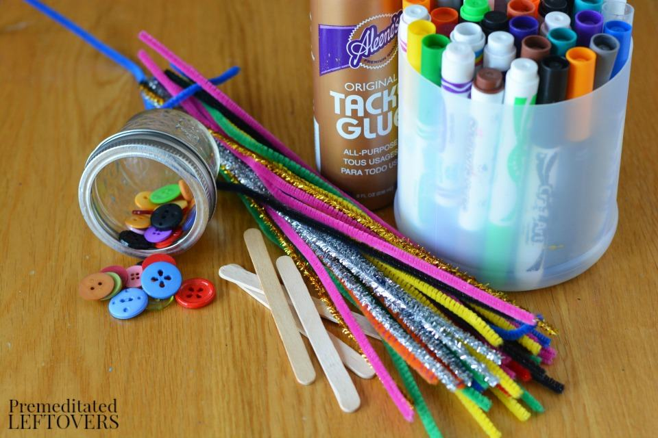 Popsicle Stick Dragonfly Craft with Buttons - supplies