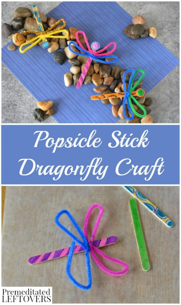 popsicle stick dragonfly craft with buttons tutorial