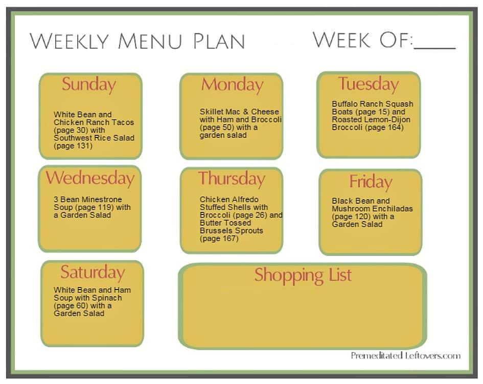 Prep-ahead menu plan using shredded chicken