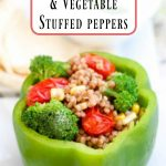 Tahini Couscous & Vegetable Stuffed Peppers- These stuffed peppers are an easy, meatless meal when the temps heat up and you want to bypass the oven!