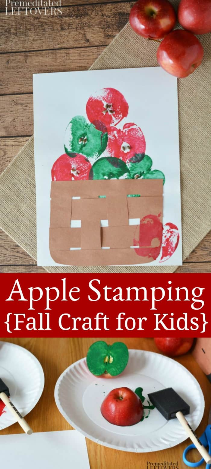 Fun apple stamping craft for kids.