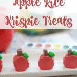 Mini Apple Rice Krispie Treats- These apple shaped Rice Krispie treats are an easy snack recipe to make. They are perfect for back to school and fall!