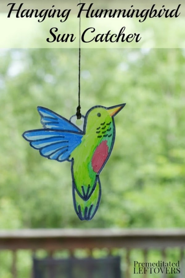 Hanging Hummingbird Sun Catcher- Create this colorful hummingbird sun catcher with your kids. It's a fun and frugal project to study birds or the letter H.