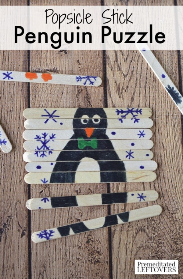 Popsicle Stick Penguin Puzzle Craft For Kids Tutorial