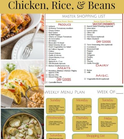 Prep-Ahead Meal Plan for Prep-Ahead Meals Using Shredded Chicken, Rice, and Beans