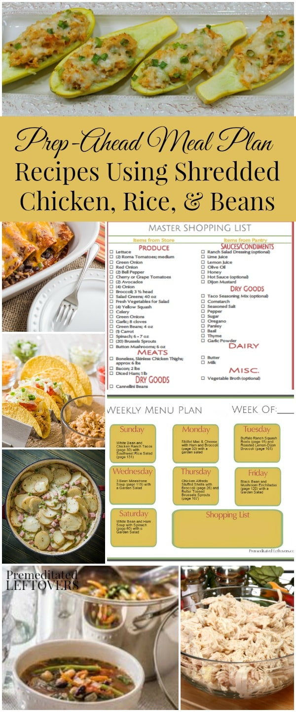 Prep-Ahead Meal Plan for Prep-Ahead Meals Using Shredded Chicken, Rice, and Beans. Includes meal plan with 7 dinner ideas, shopping list, and a batch cooking plan.