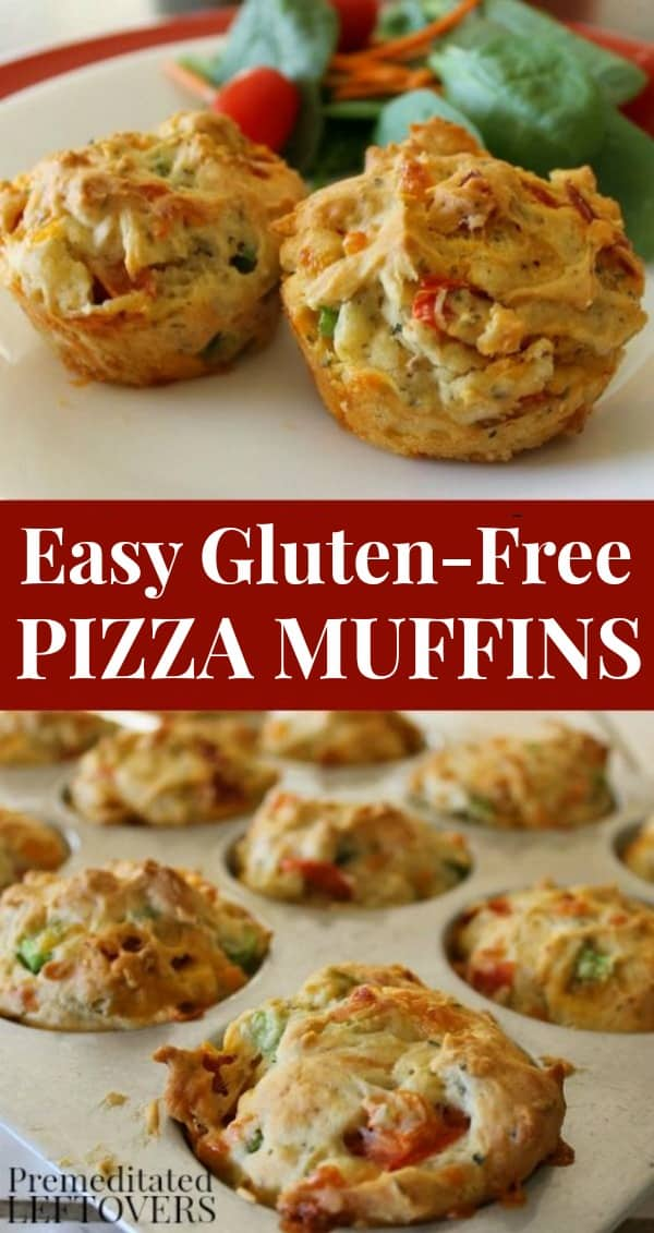Quick and Easy Gluten-Free Pizza Muffins Recipe on red plate.