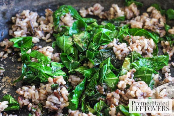 Wild Rice and Shrimp Salad with Greens-toss greens and wild rice
