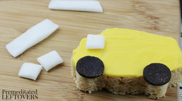 School Bus Rice Krispie Treats- cut window candy