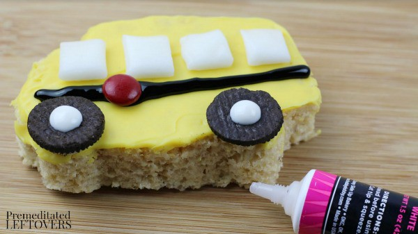 School Bus Rice Krispie Treats- add details with icing and M&Ms