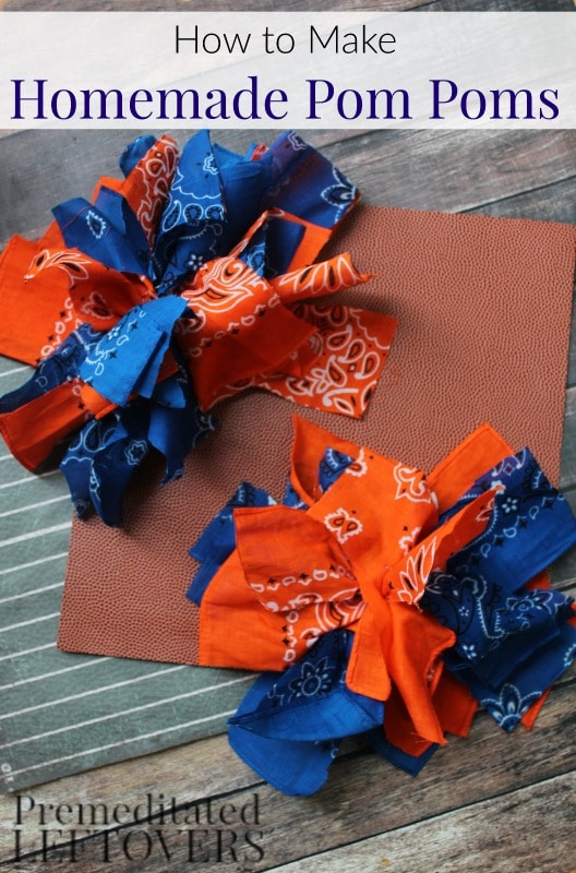 Homemade Pom Poms Tutorial- Create your own pom poms in your favorite team's colors with this easy tutorial. All you need is 10 minutes and $2 in supplies.