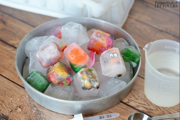 Ice Cube Discovery Activity for Kids- our water to help melt ice cubes