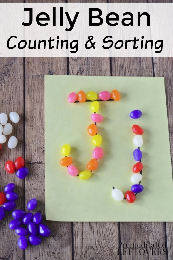 This Jelly Bean Counting and Sorting Activity is a fun way for kids to practice basic math skills or the letter J. When finished, they can eat the candy!