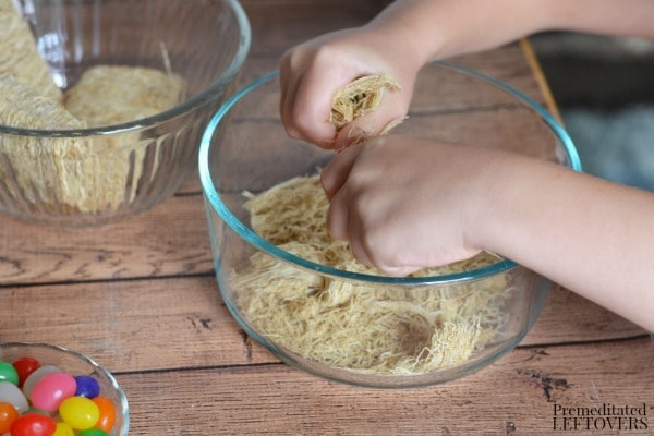 Edible Bird Nests- crushing shredded wheat