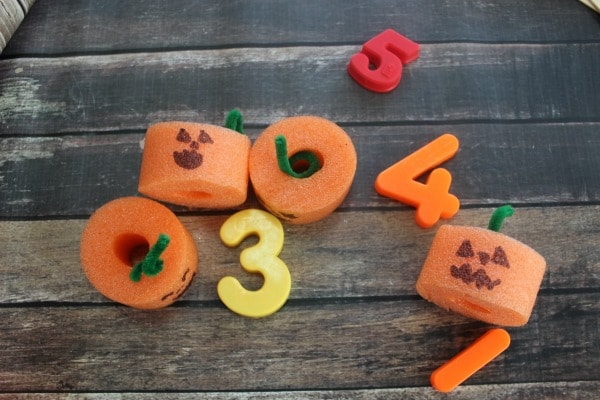 Pool Noodle Pumpkins and Activities for Kids- counting