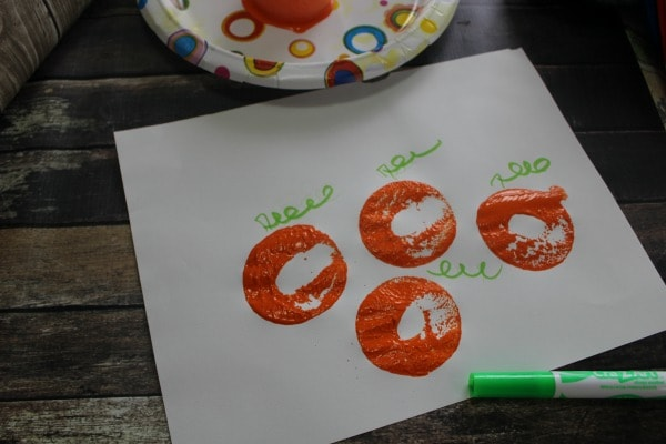 Pool Noodle Pumpkins and Activities for Kids- stamping