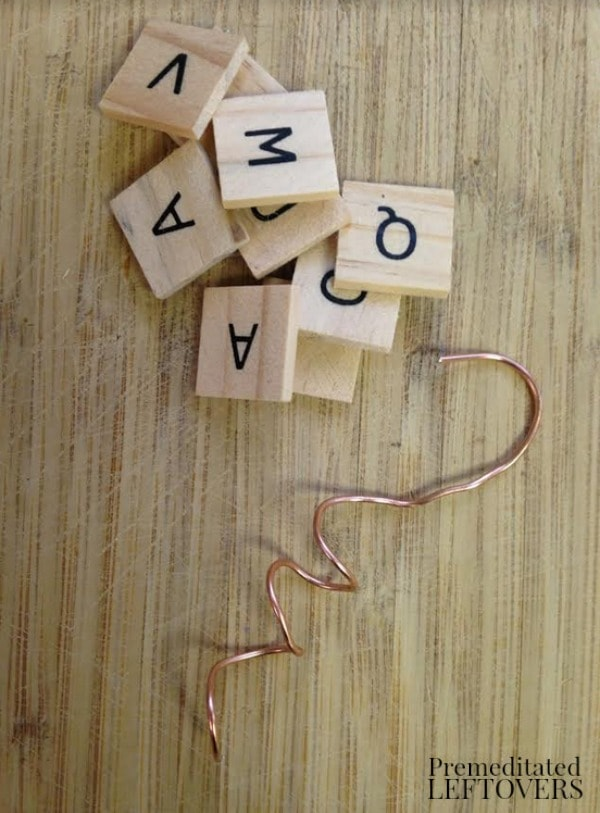 Wood Tile Letter Wine Glass Markers- coil wire and pick letters