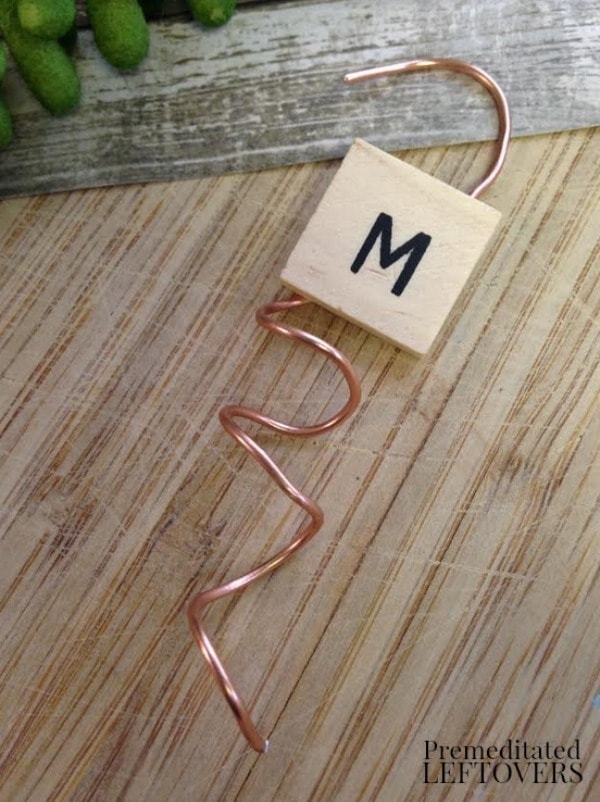 Wood Tile Letter Wine Glass Markers- adhere letter to wire