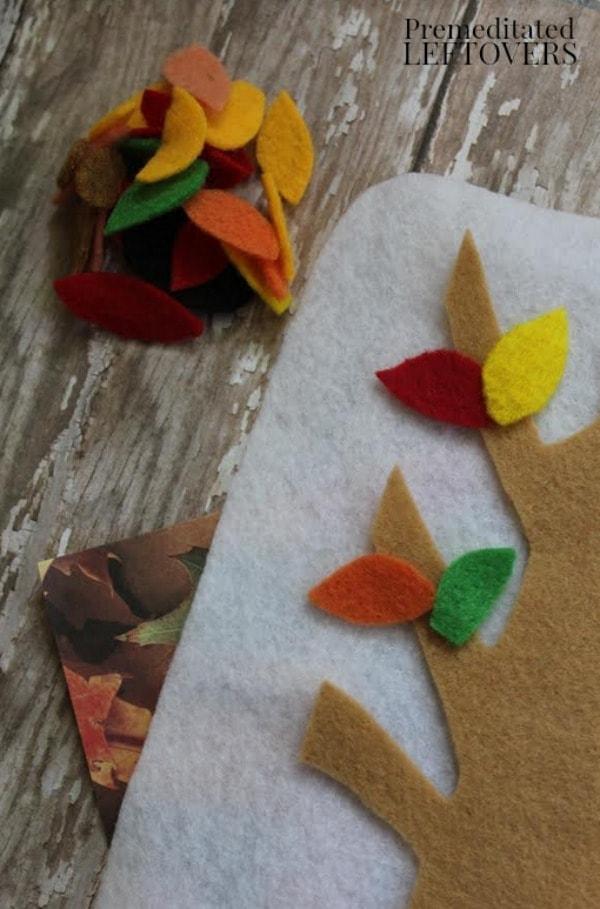 Felt Fall Tree Craft- add felt leaves
