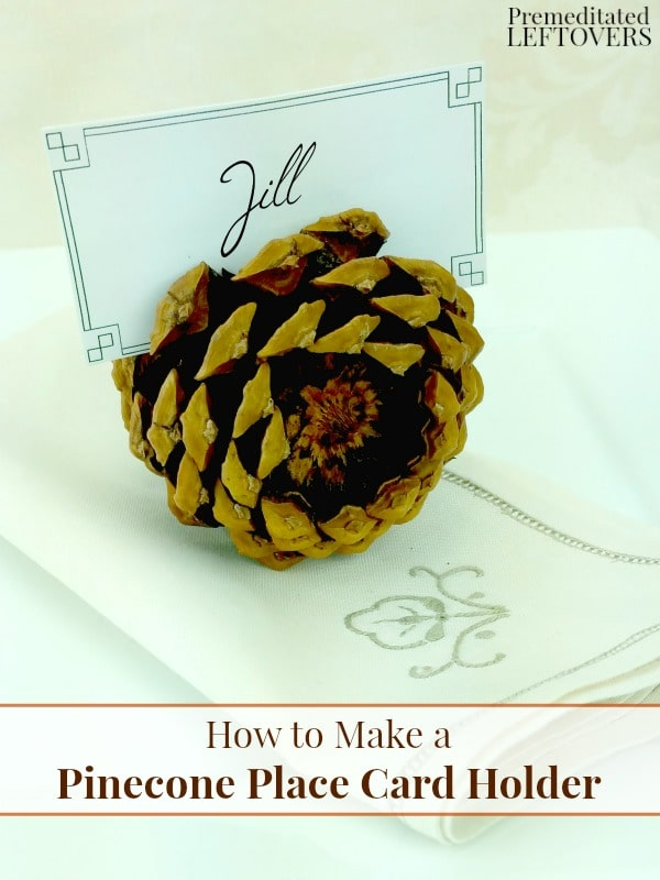 Mark your guests' seats with a DIY Pinecone Place Card Holder. This is a frugal fall or winter decoration you can make when you're short on time and money.
