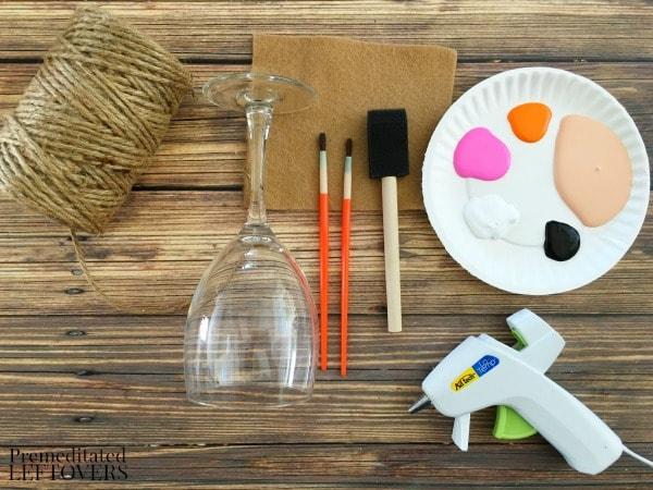 Scarecrow Wine Glass Votive Holder- materials