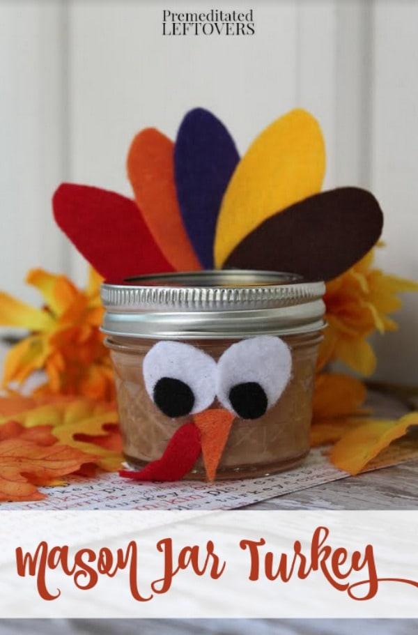 Mason Jar Turkey Craft For Kids Tutorial