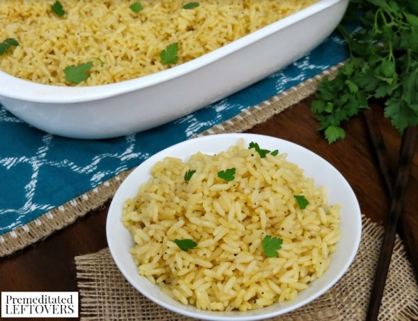 Baked Rice Recipe- rice in bowl