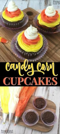 Easy candy corn cupcakes recipe and frosting tutorial.